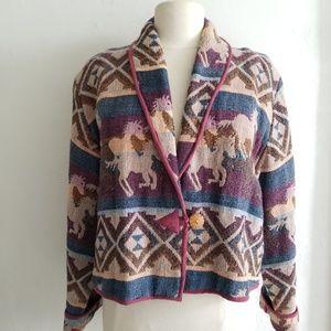 80's Keren Hart cropped woven horse print jacket